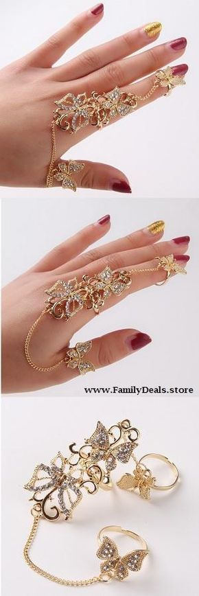 """$14.99 Mariah """"Butterfly fingers"""" Full Finger Rings - Feel stylish and live you're own fairy tale with this beautiful rhinestone-encrusted gold full finger rings. Perfect accompaniment to any outfit to add that unique touch of class. Just wait till you start getting the compliments if you really want to believe how impressive your hands will look with this jewelry  masterpiece. Buy now at sale price from www.FamilyDeals.store"""