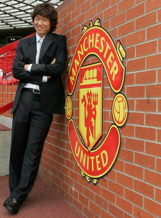 Ji-Sung Park arrives at Old Trafford in July 2005