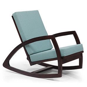 Dylan Rocking Chair (Mahogany Finish, Blue)