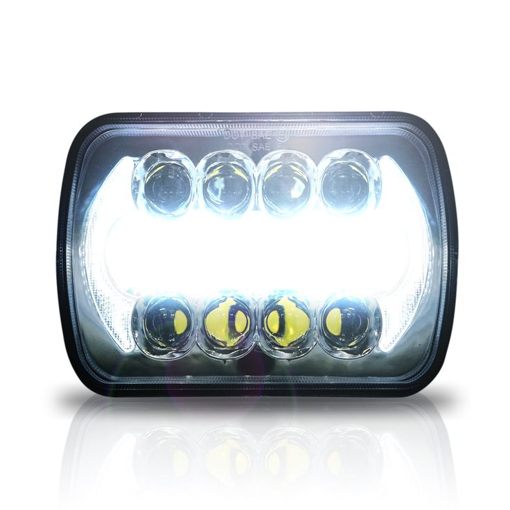 "Chrome 7X6 LED Headlamp also know as 5x7 DRL Function can be wired. Low Beam and High Beam. 5"" x 7"" 6x7inch Rectangular LED Headlights for Jeep Wrangler YJ Cherokee XJ Trucks 4X4 Offroad Headlamp Replacement H6054 H5054 H6054LL 69822 6052 6053"