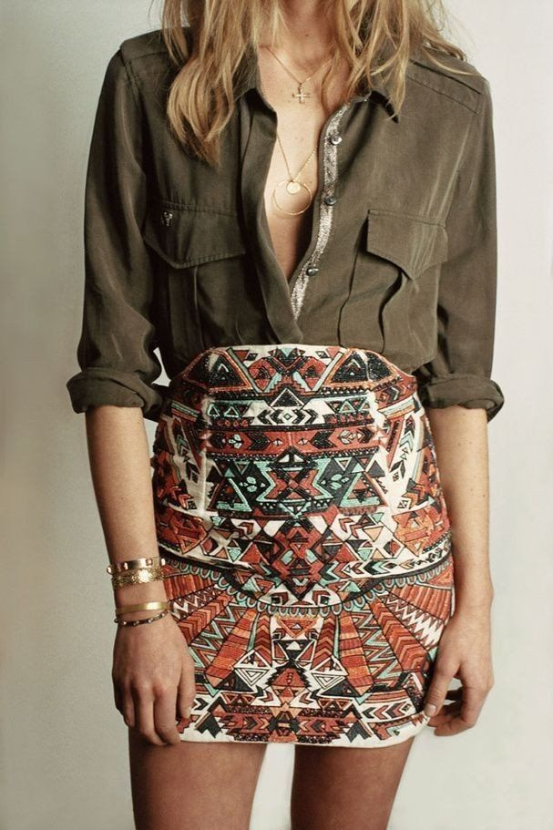 #spring #outfits Green Shirt + Aztec Print Skirt