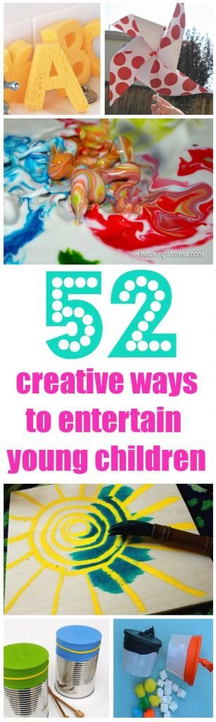 This is an awesome website- more than just the 52 ideas that they show here. Following this pinterestie for sure. - -See Jamie Teach Homeschool: 52 Creative Ideas to Entertain Young Kids