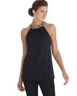 White House | Black Market Pearl Necklace Halter Top ~ The top I got for my 25th high school reunion. It looks good.