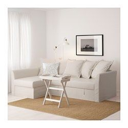 Leather Sectional Sofa IKEA HOLMSUND Corner sofa bed Nordvalla beige Cover made of extra hard wearing polyester with a dense texture Storage space under the chaise longue