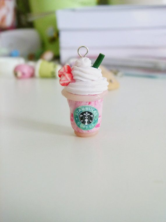 Starbucks Frappuccino Clay Charm Strawberry or Mocha on Etsy, $3.89
