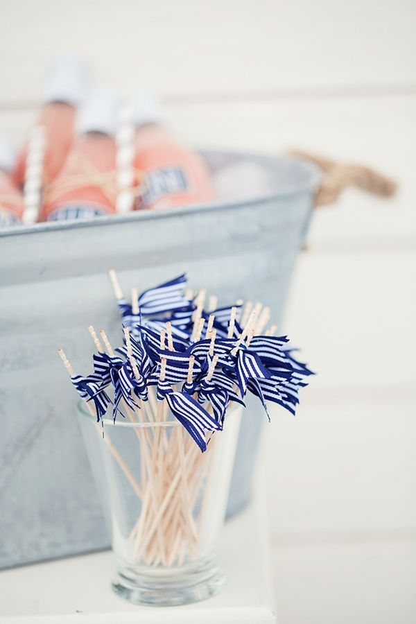 Nautical Flag Drink Stirrers   peaches & mint   Fresh and Chic Nautical Seaside Wedding with Preppy Blue Stripes and Blush Flowers