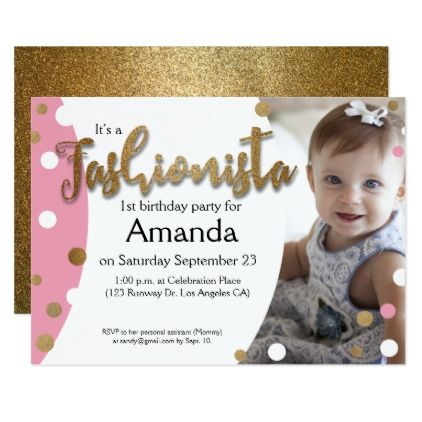 First Birthday Party Invitation Fashionista Pink Card