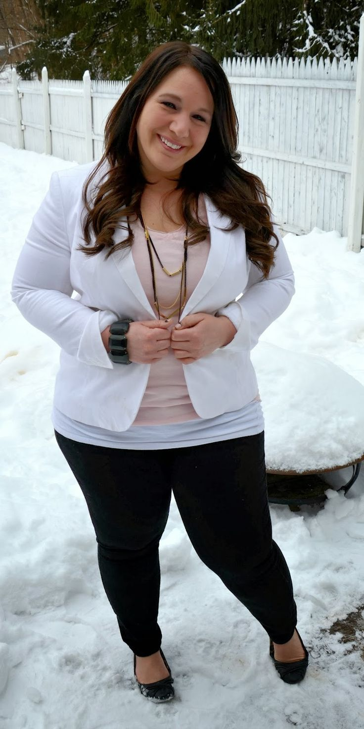 Love the white blazer|: Full Figured & Fashionable