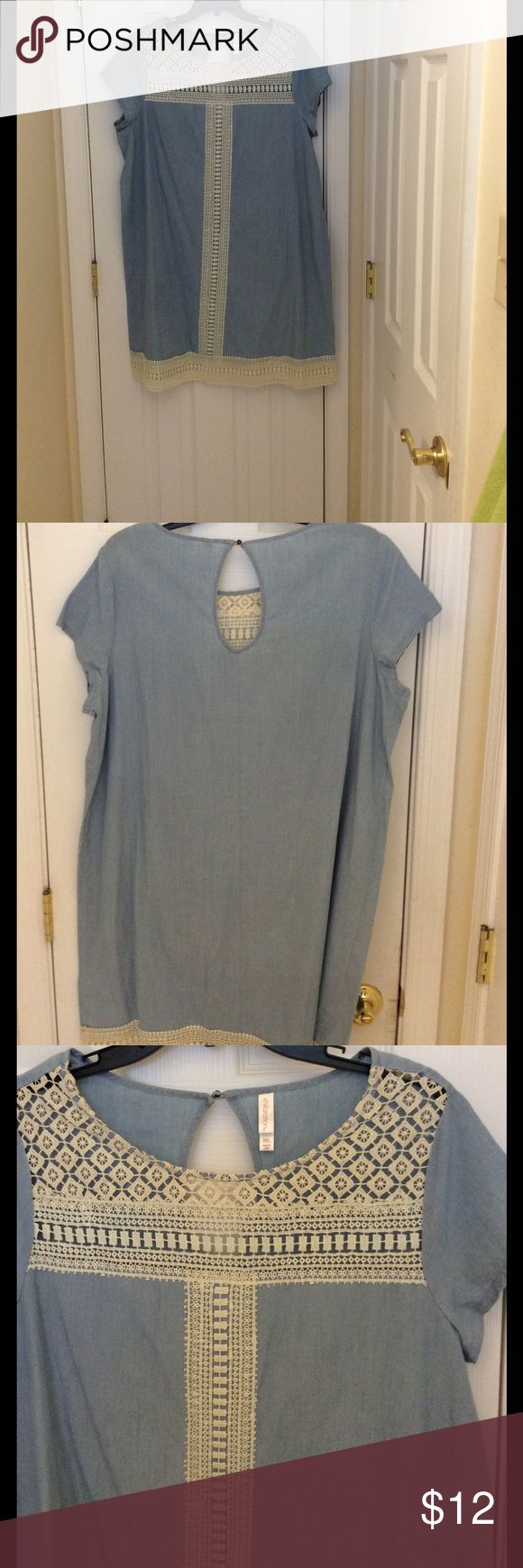 Xhilaration light denim shirt dress Light blue denim shirt dress with ivory lace. New without tags. Never worn. The size is a XXL (12/14) Xhilaration Dresses Midi