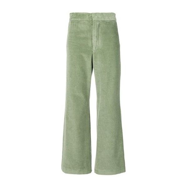 cdf6afb604a4 ISABEL MARANT Green Velvet Corduroy Trousers ( 372) ❤ liked on Polyvore  featuring pants
