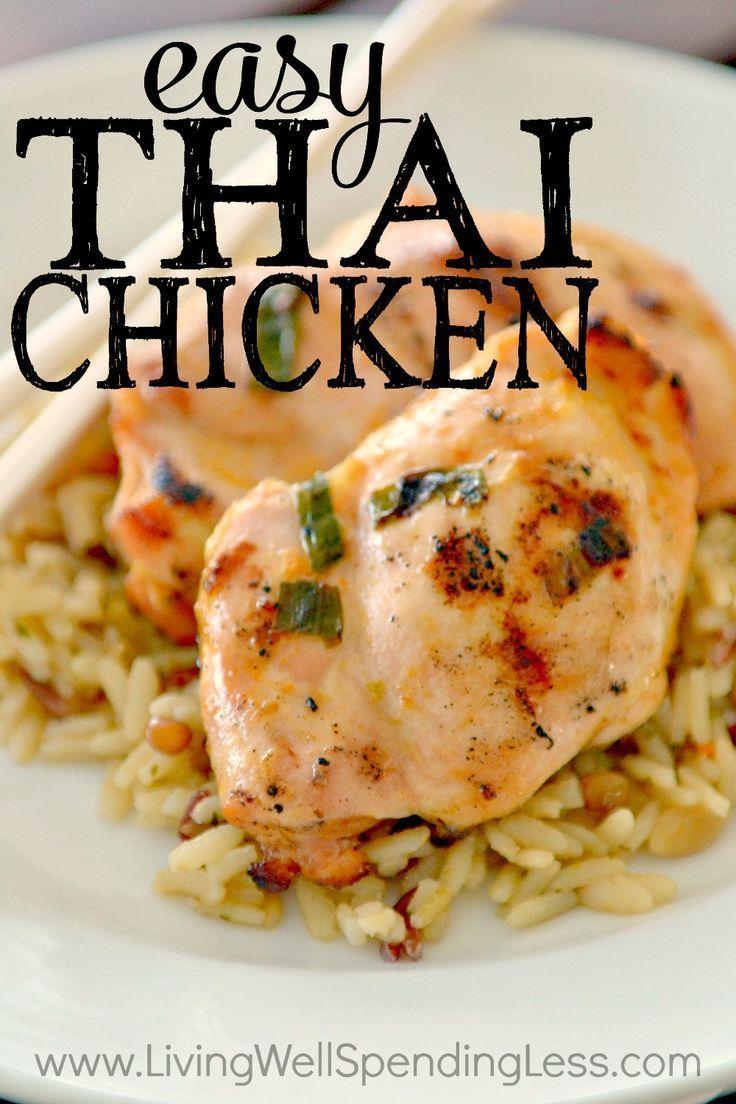 Super Flavorful Thai Chicken l Easy Dinner Recipe | Freezer Meal Ideas | BBQ Food via lwsl