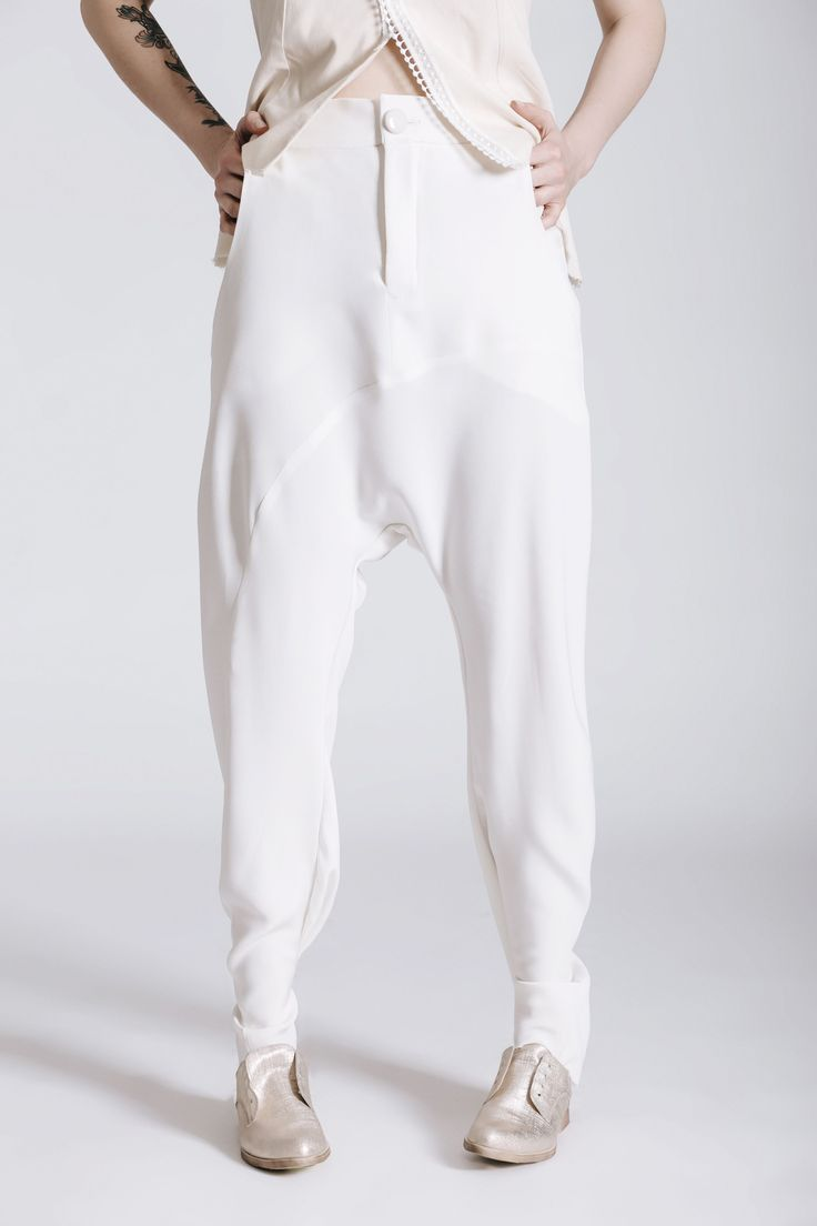 Androgynous Style. drop crouch pants. Women's White Wedding Suit. Same-sex wedding idea. THE NEW BRIDE non-wedding dress.