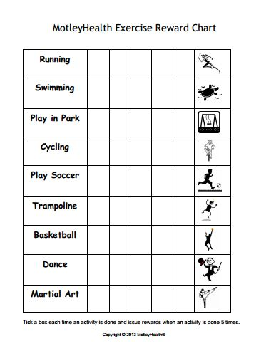 Kids exercise reward chart - motivate kids to get active ...