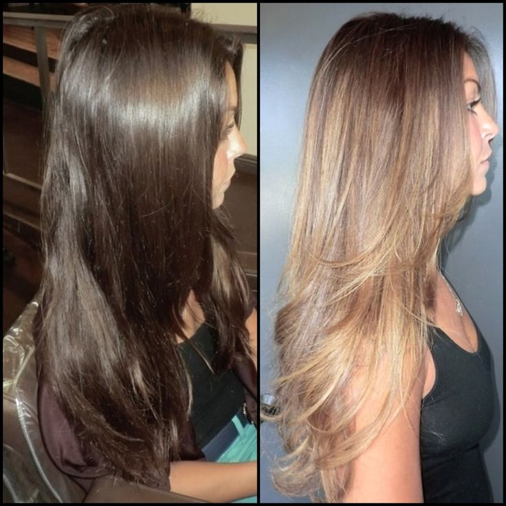 Before and after, dark brown to caramel high lights ...