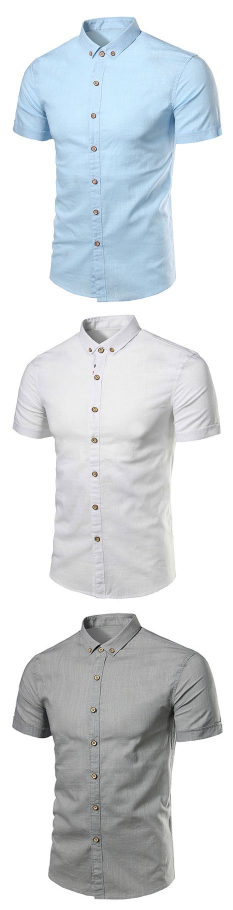 Casual Business Slim Fit Pure Color Cotton Short Sleeve Dress Shirts for Men