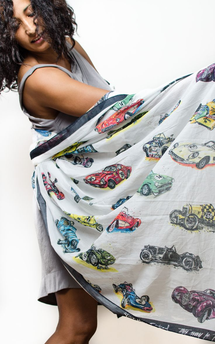 Car Scarf by Anna-Louise Felstead available here: http://thiswaytoheaven.com/luxury-scarves-sarongs-shop-online#!/~/category/id=9043899