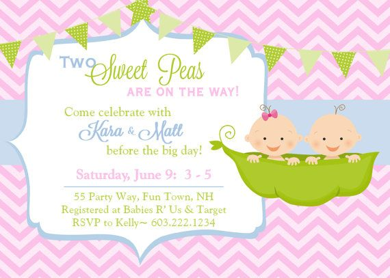 twins baby shower invitation peas in a pod twins invitation peapod invitations printable invitation chevron printable baby shower peapod