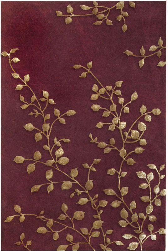 The Rug Market Transitional Golden Leaves Burgundy Rug