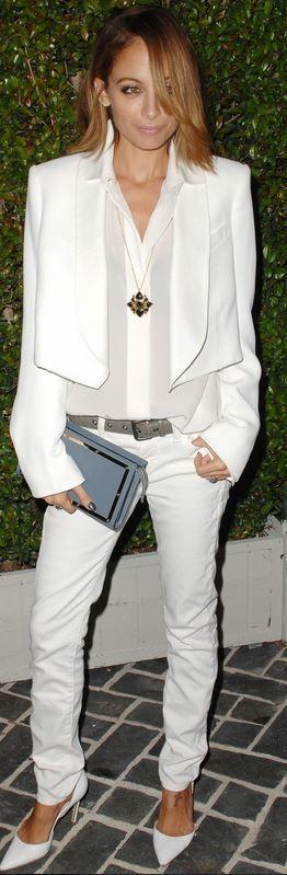 Nicole Richie: Jacket and purse – Chloe  Shoes – Manolo Blahnik  Earrings – Jennifer Meyer  Belt – Bottega Venetta