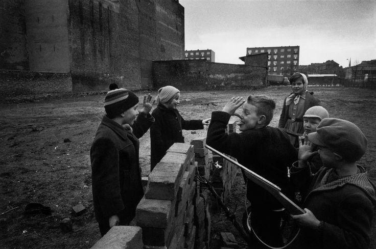"Raymond Depardon. GERMANY. West Berlin. children playing at 'building the Wall"". February 1962"