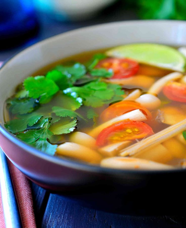 This vegetarian tom yum soup recipe is light, flavourful, spicy and hearty. A mix of meaty Asian mushrooms are poached in a fragrant broth.