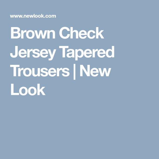 Brown Check Jersey Tapered Trousers   New Look