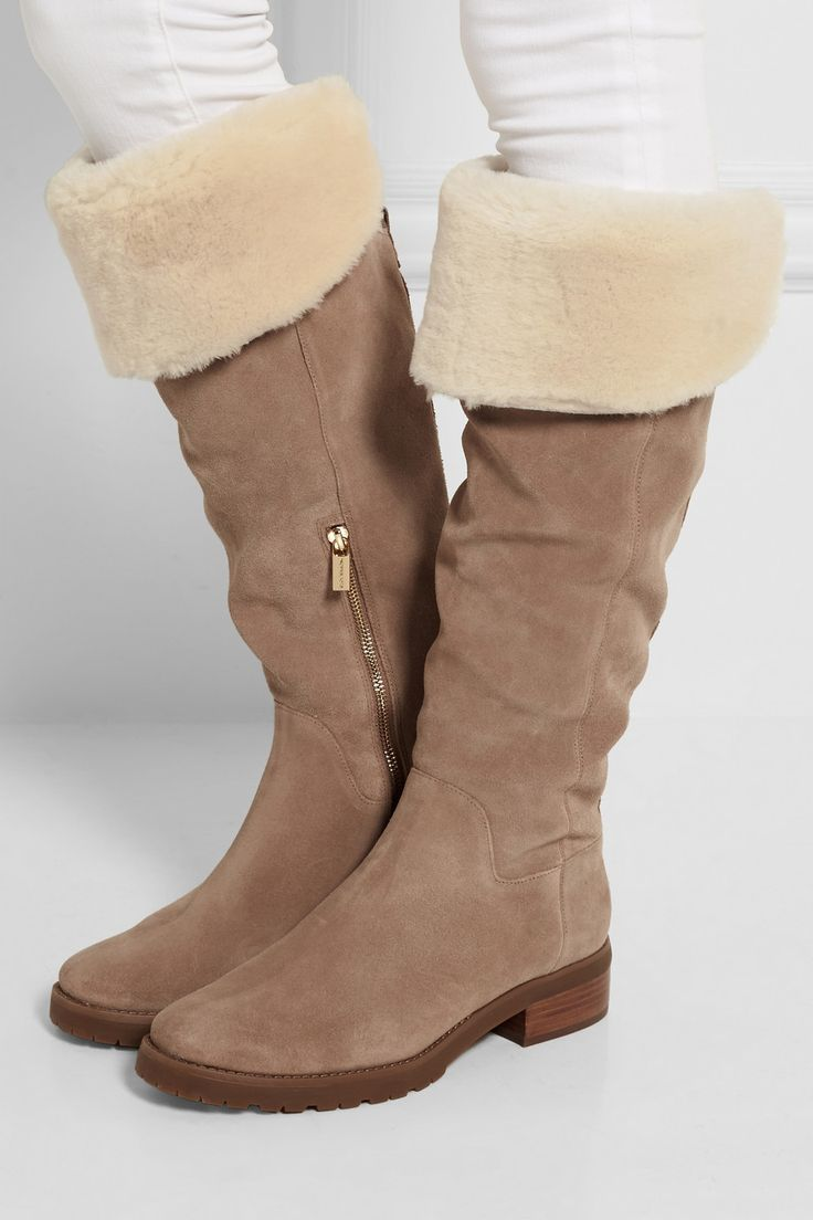MICHAEL Michael Kors | Whitaker shearling-trimmed suede knee boots | NET-A-