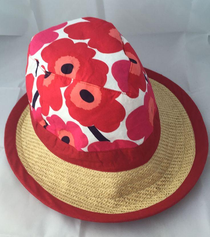 Marimekko Trilby Fedora crushable boltofcloth sunhat beachhat made in new zealand  waiheke island madeinnz peony hat hats cutandsew travelhat redhat largehat bighead