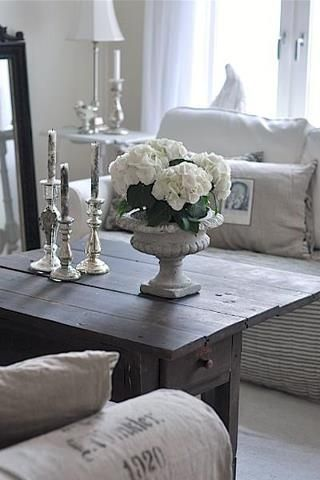 ✣ French Country Farmhouse ✣  living room Check out the burlap bag pillow and arm covering. sweet just what a Dirty Girl from Dirty Girl Farms ordered.. www.dirtygirlfarm.com
