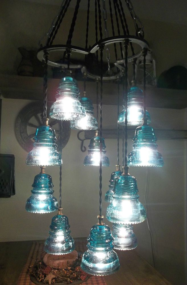 Horse Shoe-Antique Glass Insulator Chandelier/Light Fixture-An Original-12 light