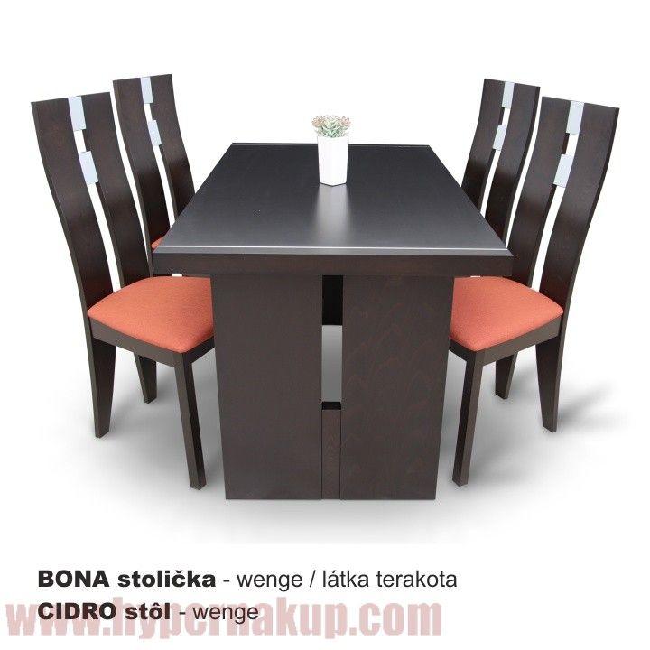 Jedálenský stôl, wenge, CIDRO + stoličky Bona