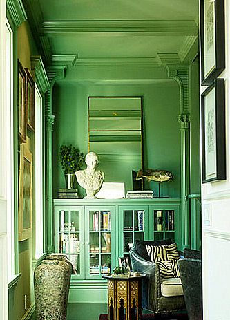 "C 2   Paints'           ""PRIMAVERA""            C 2 - 164  "" We pieced this room together from old metal columns and salvaged library cabinets and needed something to unify it, so we painted it this   glorious   spring   green.   Ceiling, walls, and trim — so you'd have the sense of being enveloped.  It makes it more modern and allows the collections, like that bust, to come to the foreground.  The traditional architecture is still there, but the color takes the seriousness away. ""   -  Ken…"