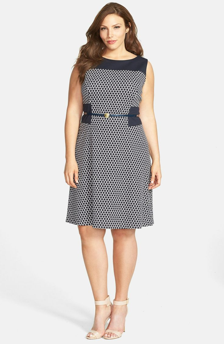 Anne Klein Pattern Ponte Fit & Flare Dress (Plus Size) | Nordstrom