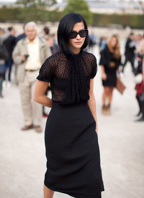 .: Black Style, Polka Dots, All Black, Black Hair, Street Style, Black Outfit, Black Skirts, Black Pencil Skirts, Style Fashion