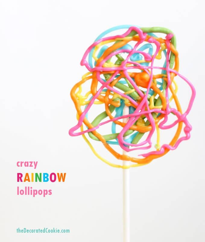 easy crazy rainbow lollipops