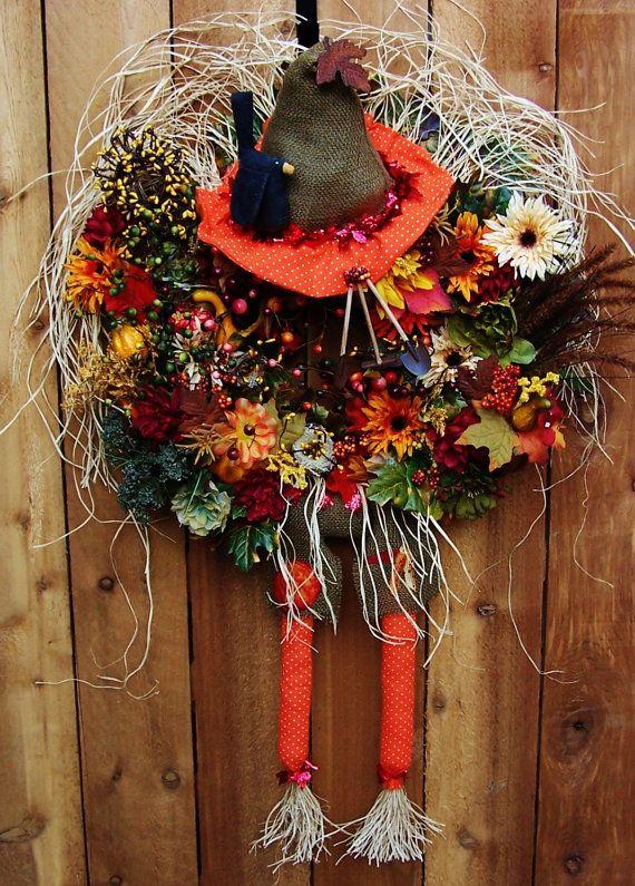 Fall Wreath-Halloween Wreath-Fall Wreaths for the Door-XXL PEEK A BOO Scarecrow Floral Berry Door Wreath-Front Door Wreath-Primitive Country...