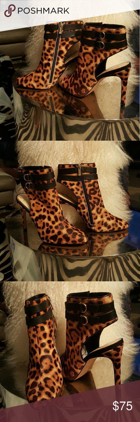 "Jessica Simpson Leopard booties Jessica Simpson Leopard booties. Sweetest! These babies are classic, they go with anything! Heel measures 4.5"". Jessica Simpson Shoes Ankle Boots & Booties"