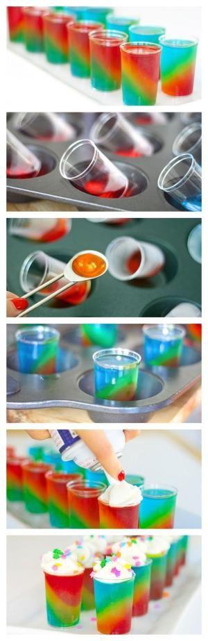 Slanted Rainbow Jelly Shots