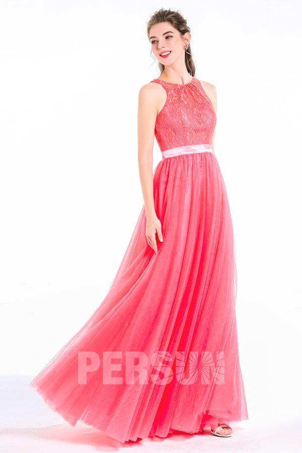 Robe soirée longue dentelle rose pastèque pour soirée mariage encolure  ronde dos à découpe - Robedesoireelongue c9a9e19ed6ba