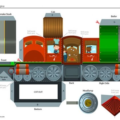 Build Your Own Train Steam Engine Printable Paper Crafts