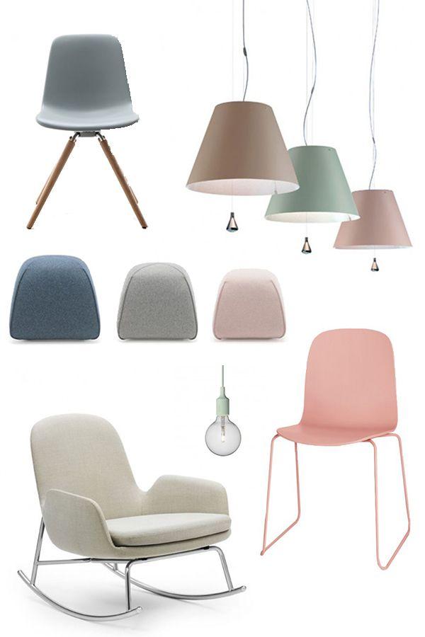 De Tonon Step stoel (linksboven) kun je gerust combineren met een zachtorze stoel uit de Muuto Visu serie (rechtsonder) . Lekker loungen doe je in een Normann Copenhagen Era Rocking Chair in champagne kleur, terwijl je voeten rusten op een Design on Stock BimBom kruk. En voor verlichting in pastelkleur kies je een vrolijke Muuto lamp, zoals de Luc Costanza hanglamp (rechtsboven) of de kleinere E27 hanglamp (midden). Keus genoeg, dus!