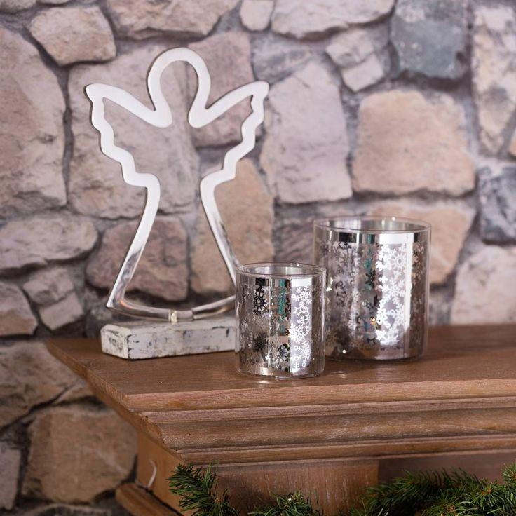 Świecznik Christmas Time Silver wys. 10.5cm 9,5x9,5x10,5cm #zima #winter #interior #dom #home #wnetrze #dekoracje #decoration