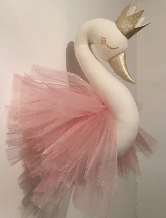 Princess swan. Swan head wall mounted swan by HappyHeadToys