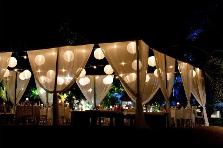 "This is the closest example I could find for ""draping"" around the dance floor with balloons hanging down... but the paper lanterns don't look bad at all!"