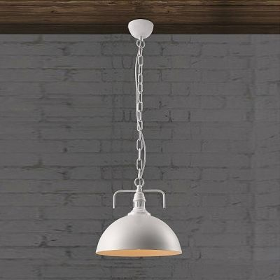 White Finish 1 Light Pendant with White Metal Shade