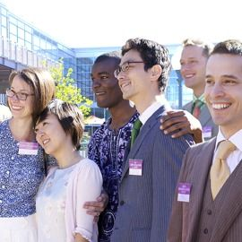 A group of happy people from different countries.Question often ask are JW. an american sect? Find answers @www.jw.org