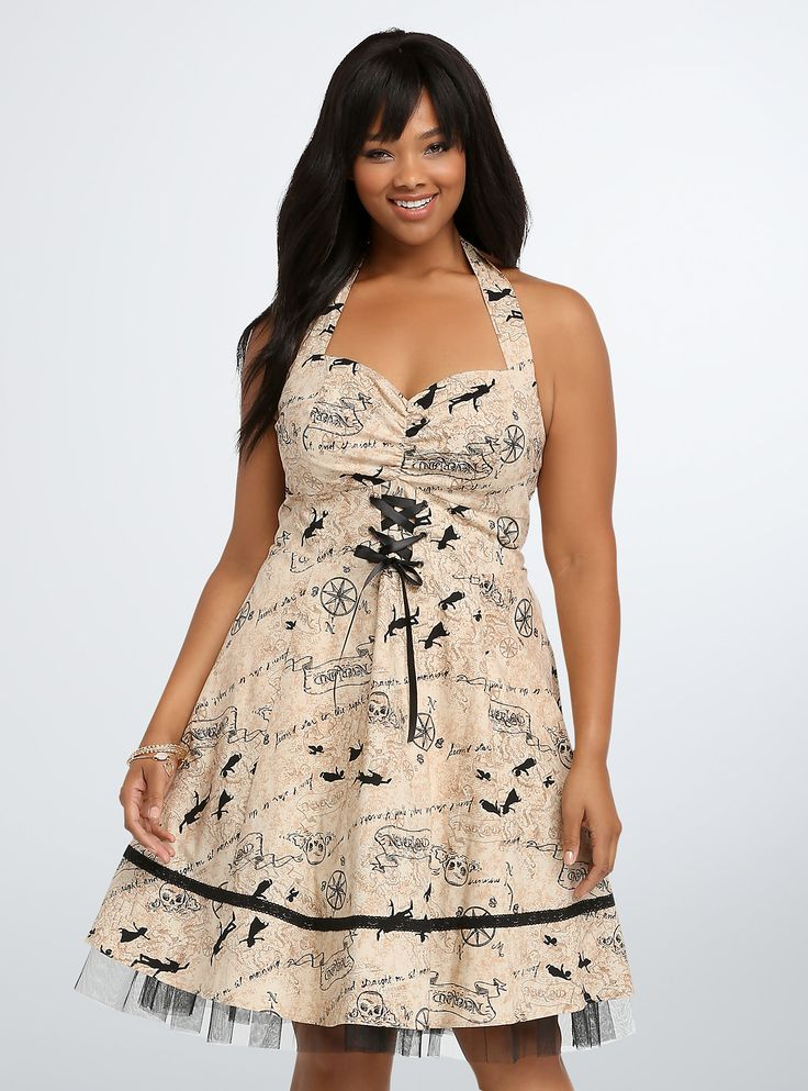 You'll never be lost in Neverland again: a gorgeous black and sepia tone Peter Pan map print covers this retro dress. With a sexy gathered bust, black silk lace-up front and a halter neck tie, the super-cool style also gets a kick from a tulle skirt underlay.