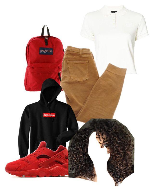 """Uniform idea #7💓"" by baddieoutfitss on Polyvore featuring JanSport, Puma, Current/Elliott, NIKE and ASAP"