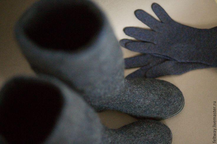 Купить Комплект сапоги и перчатки - темно-серый, перчатки женские, перчатки зимние, перчатки валяные