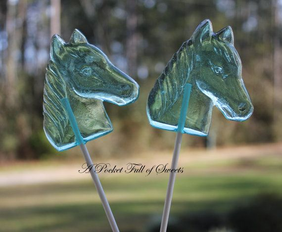 12 HORSE Lollipops Barley Sugar Hard Candy Suckers Birthday Party Favors Gift Kentucky Derby Favor on Etsy, $24.99